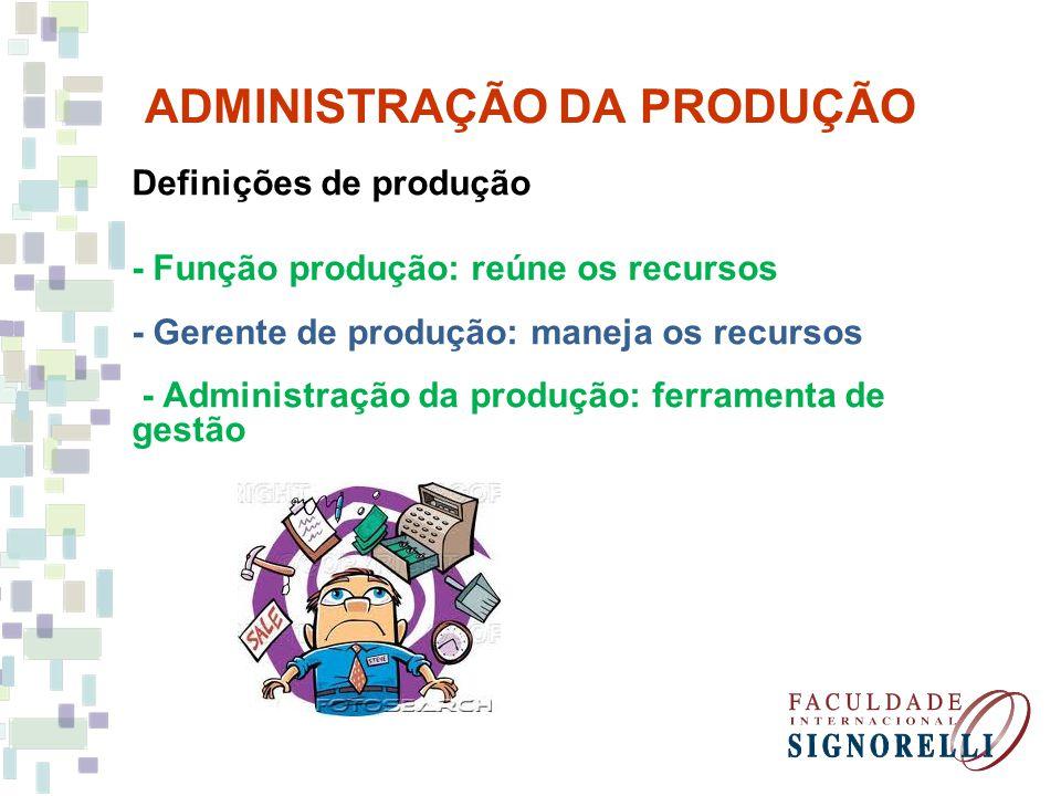 ADMINISTRAÇÃO DA PRODUÇÃO Definições de produção - Função produção: reúne os recursos - Gerente de produção: maneja os recursos - Administração da pro