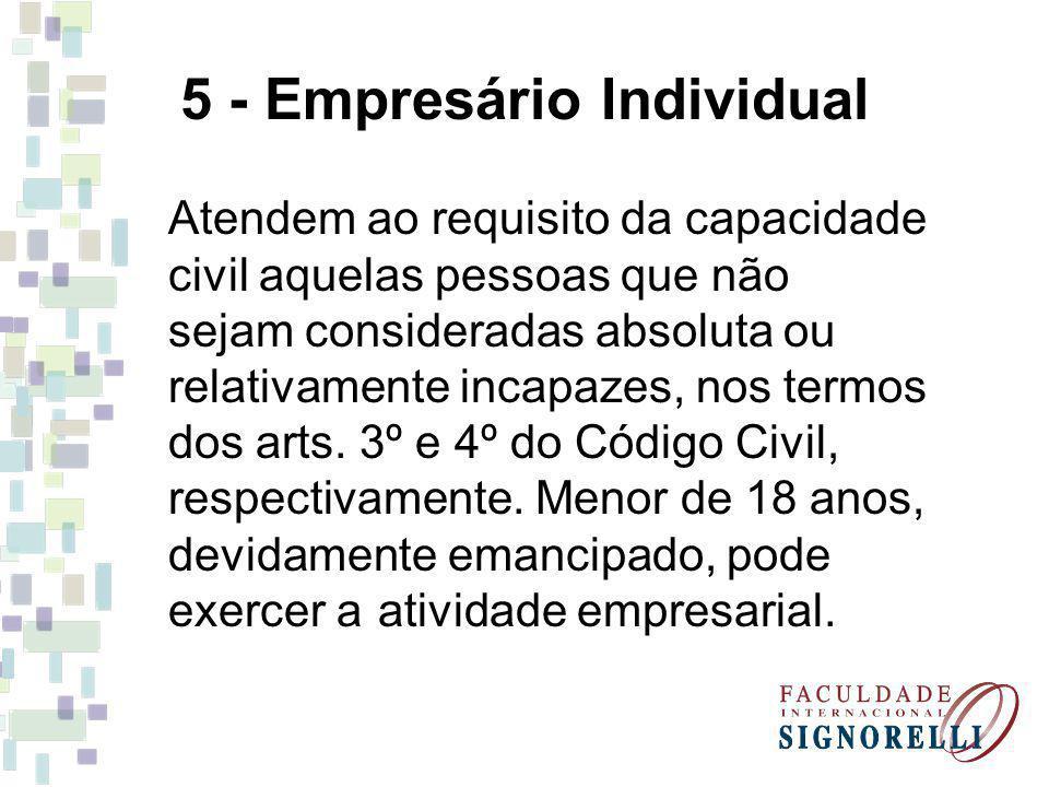 5 - Empresário Individual Atendem ao requisito da capacidade civil aquelas pessoas que não sejam consideradas absoluta ou relativamente incapazes, nos