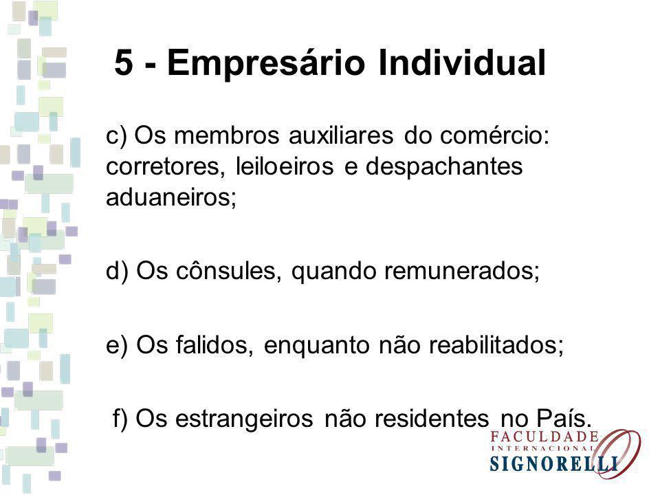 5 - Empresário Individual c) Os membros auxiliares do comércio: corretores, leiloeiros e despachantes aduaneiros; d) Os cônsules, quando remunerados;