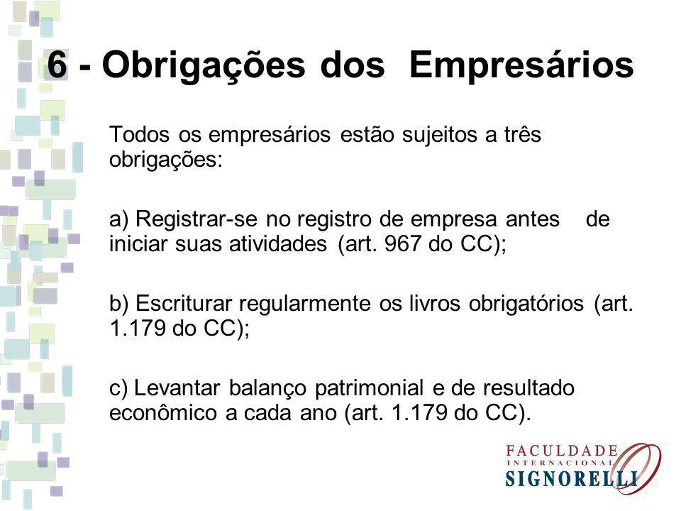 6 - Obrigações dos Empresários Todos os empresários estão sujeitos a três obrigações: a) Registrar-se no registro de empresa antes de iniciar suas ati