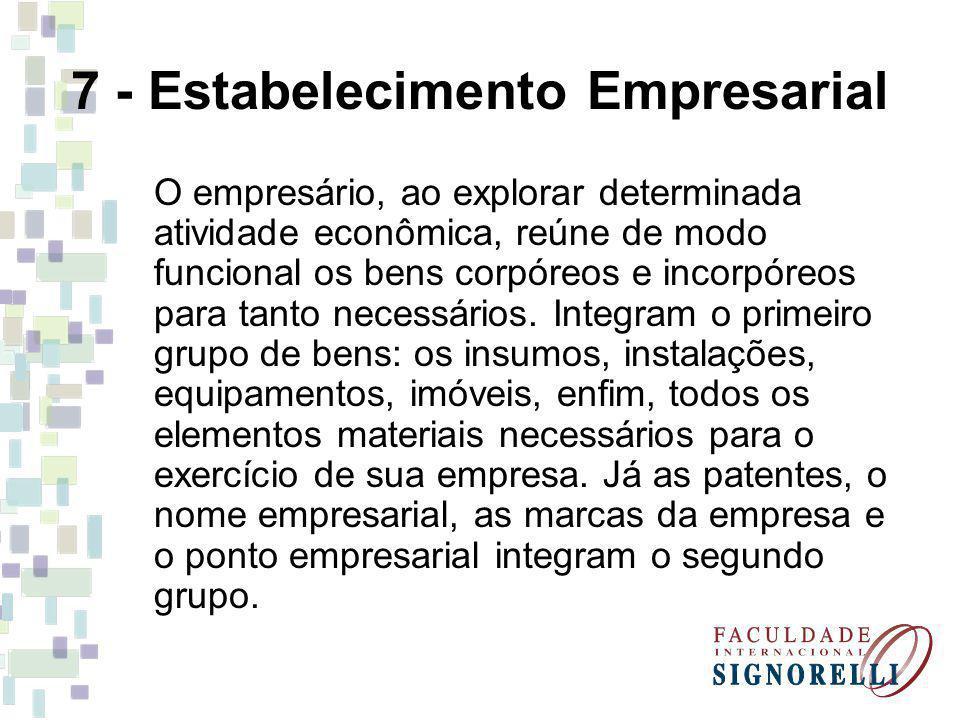 7 - Estabelecimento Empresarial O empresário, ao explorar determinada atividade econômica, reúne de modo funcional os bens corpóreos e incorpóreos par