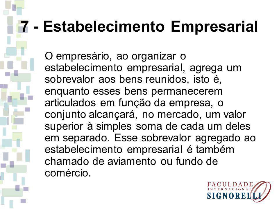 7 - Estabelecimento Empresarial O empresário, ao organizar o estabelecimento empresarial, agrega um sobrevalor aos bens reunidos, isto é, enquanto ess