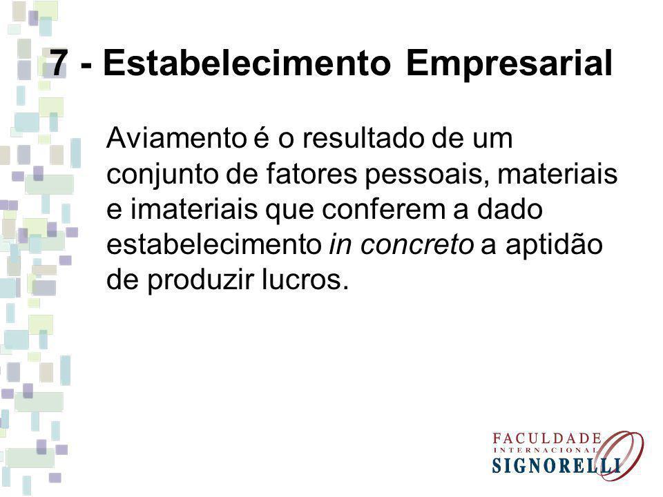 7 - Estabelecimento Empresarial Aviamento é o resultado de um conjunto de fatores pessoais, materiais e imateriais que conferem a dado estabelecimento