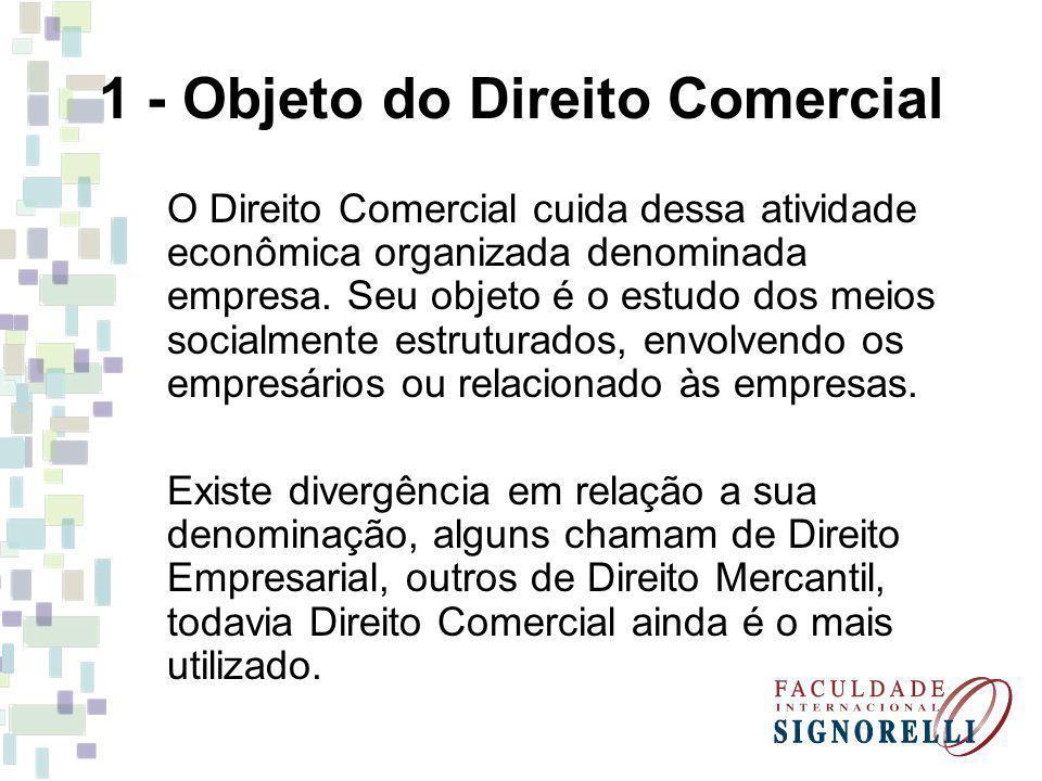 1 - Objeto do Direito Comercial O Direito Comercial cuida dessa atividade econômica organizada denominada empresa. Seu objeto é o estudo dos meios soc