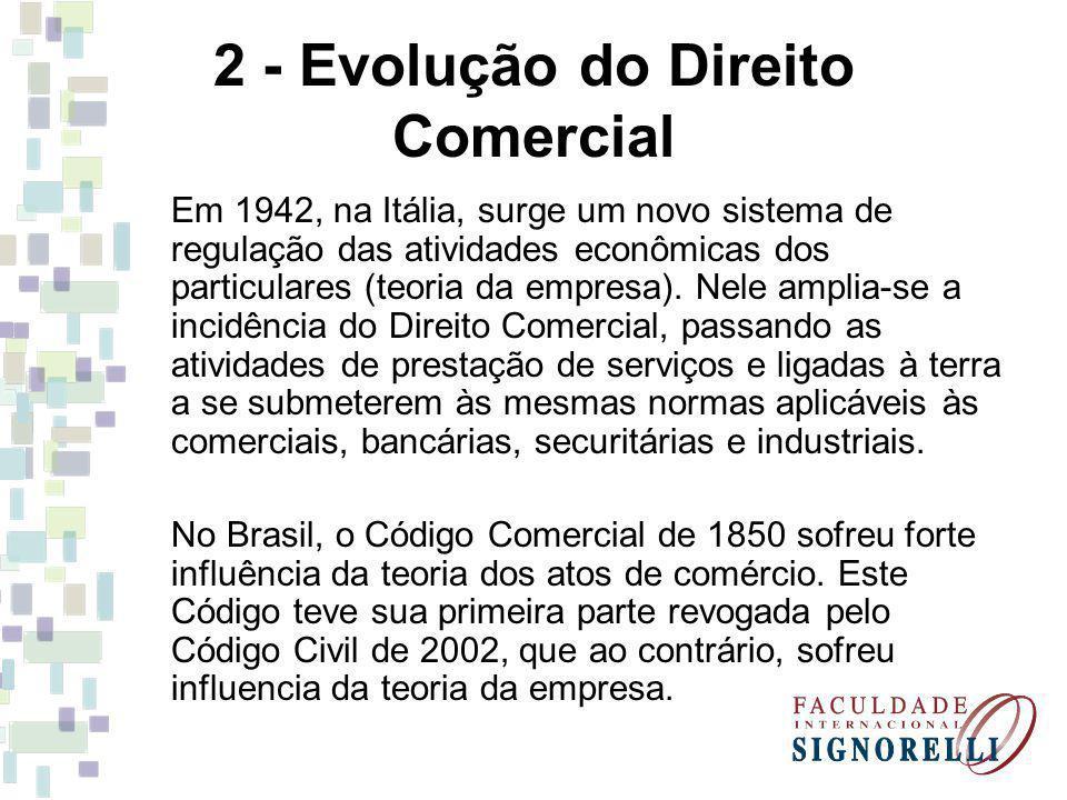 2 - Evolução do Direito Comercial Em 1942, na Itália, surge um novo sistema de regulação das atividades econômicas dos particulares (teoria da empresa