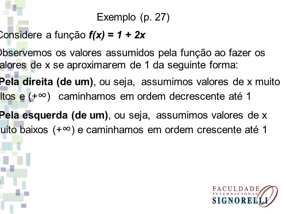 Valores de x se aproximando de 1 pela esquerda Valores de x se aproximando de 1 pela direita x f(x) = 1 + 2x -1000 -500 0 0,5 0,9 0,99 1 + 2.(-1000) =-1999 1 + 2.(-500) =-999 1 + 2.0 =1 1 + 2.0,5 =2 1 + 2.0,9 =2,8 1 + 2.0,99 =2,98 0,999 1 + 2.0,999 =2,998 x f(x) = 1 + 2x 1000 1 + 2.1000 = 2001 5001 + 2.500 = 1001 21 + 2.2 =5 1,5 1 + 2.1,5 =4 1,1 1 + 2.1,1 =3,2 1,01 1 + 2.1,01 = 3,02 1,001 1 + 2.1,001 =3,2002