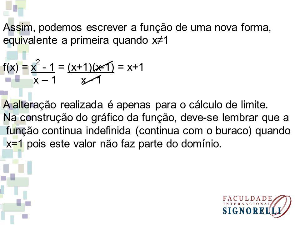 Assim, podemos escrever a função de uma nova forma, equivalente a primeira quando x1 f(x) = x - 1 = (x+1)(x-1) = x+1 x – 1 x - 1 2 A alteração realiza
