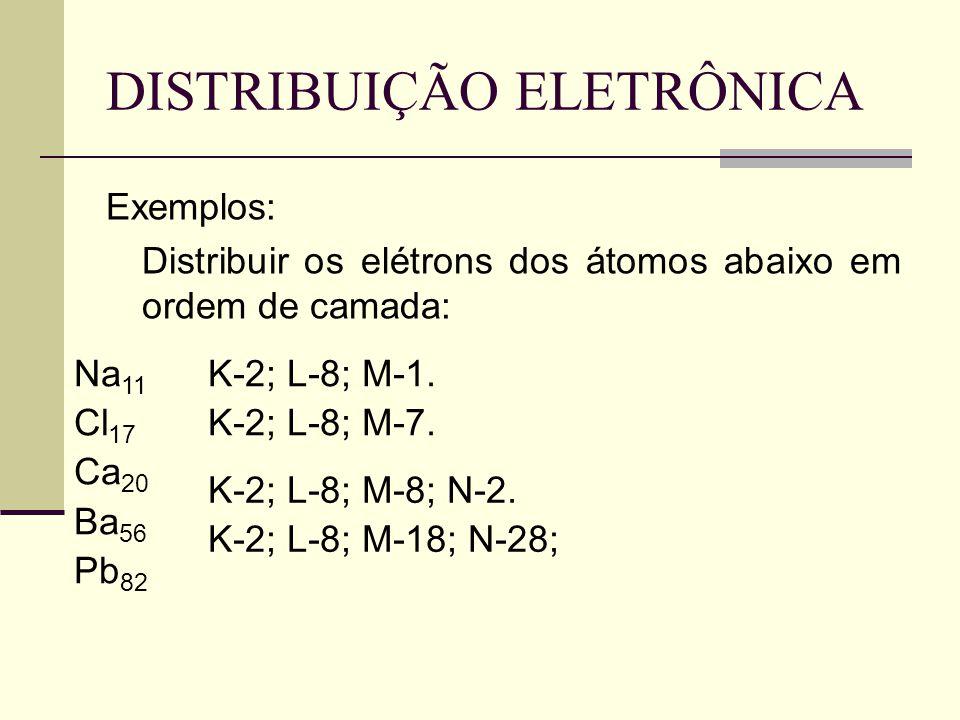 DISTRIBUIÇÃO ELETRÔNICA Exemplos: Distribuir os elétrons dos átomos abaixo em ordem de camada: Na 11 Cl 17 Ca 20 Ba 56 Pb 82 K-2; L-8; M-1. K-2; L-8;