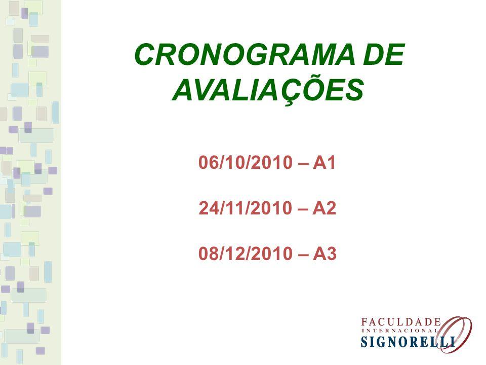 06/10/2010 – A1 24/11/2010 – A2 08/12/2010 – A3 CRONOGRAMA DE AVALIAÇÕES