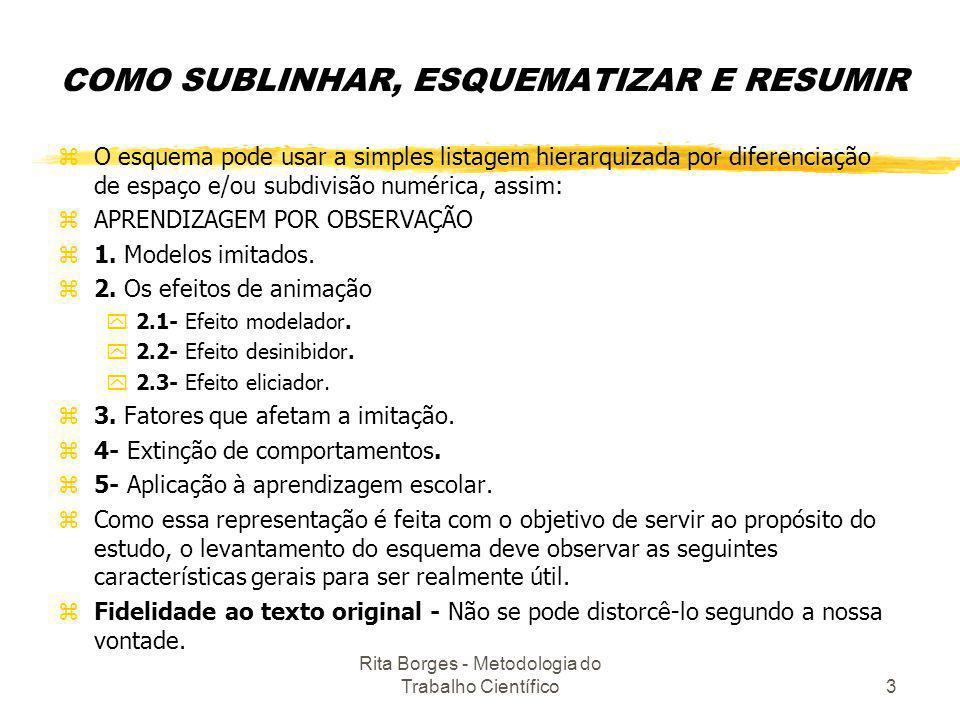 Rita Borges - Metodologia do Trabalho Científico3 COMO SUBLINHAR, ESQUEMATIZAR E RESUMIR zO esquema pode usar a simples listagem hierarquizada por dif