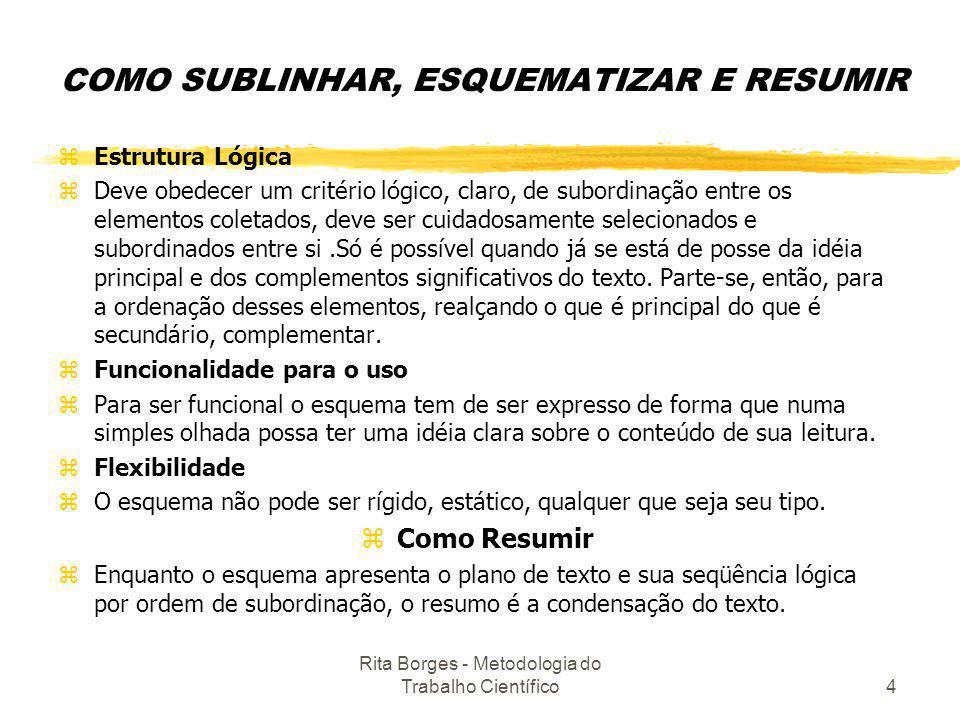 Rita Borges - Metodologia do Trabalho Científico4 COMO SUBLINHAR, ESQUEMATIZAR E RESUMIR zEstrutura Lógica zDeve obedecer um critério lógico, claro, d