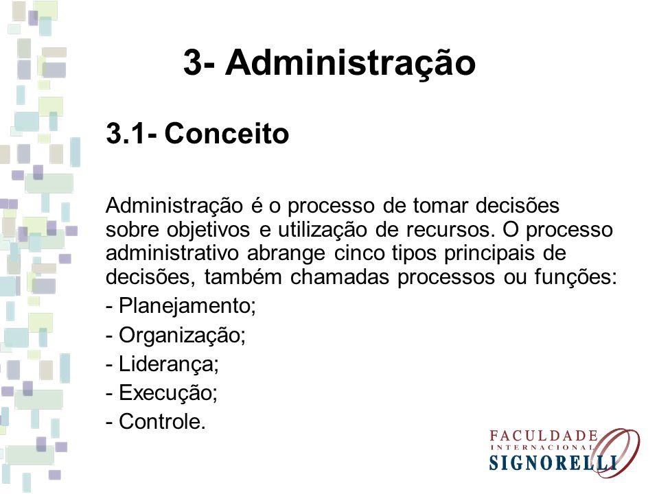 3- Administração 3.1- Conceito Administração é o processo de tomar decisões sobre objetivos e utilização de recursos. O processo administrativo abrang