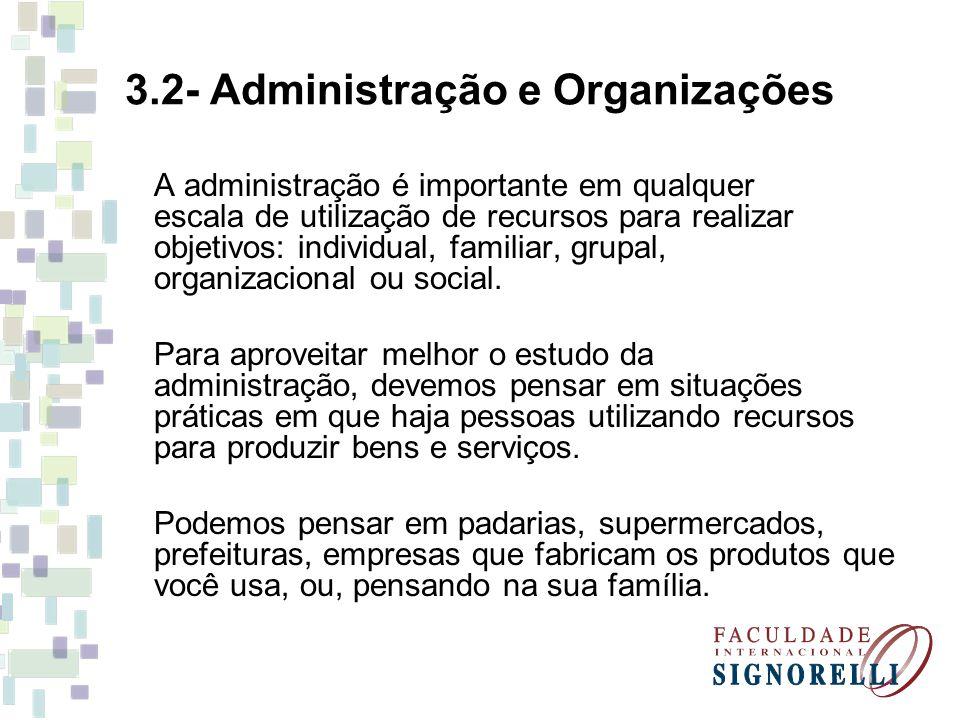 3.2- Administração e Organizações A administração é importante em qualquer escala de utilização de recursos para realizar objetivos: individual, famil