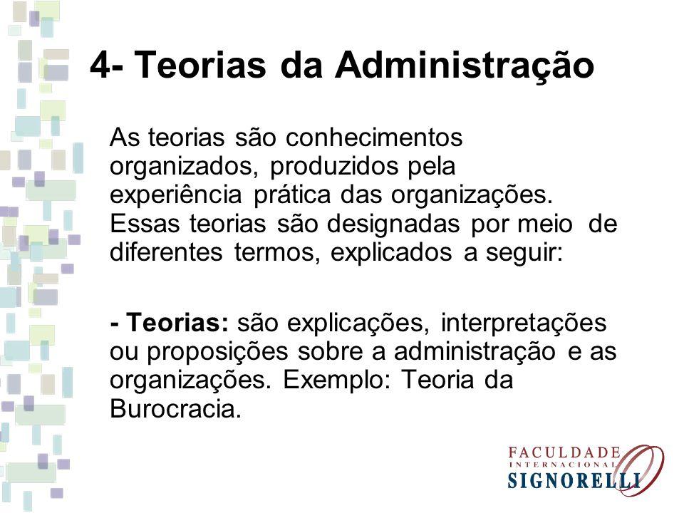 4- Teorias da Administração As teorias são conhecimentos organizados, produzidos pela experiência prática das organizações. Essas teorias são designad