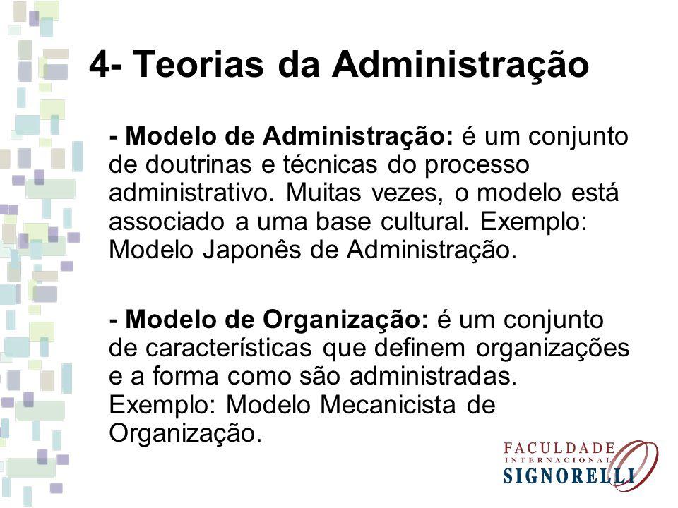 4- Teorias da Administração - Modelo de Administração: é um conjunto de doutrinas e técnicas do processo administrativo. Muitas vezes, o modelo está a
