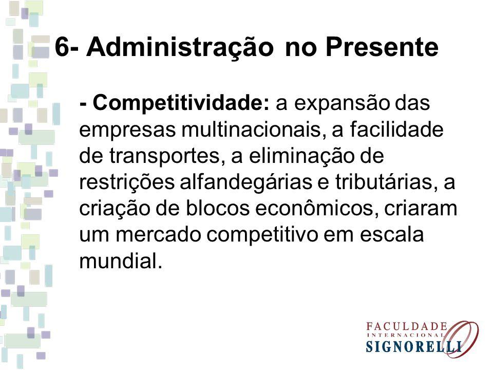 6- Administração no Presente - Competitividade: a expansão das empresas multinacionais, a facilidade de transportes, a eliminação de restrições alfand