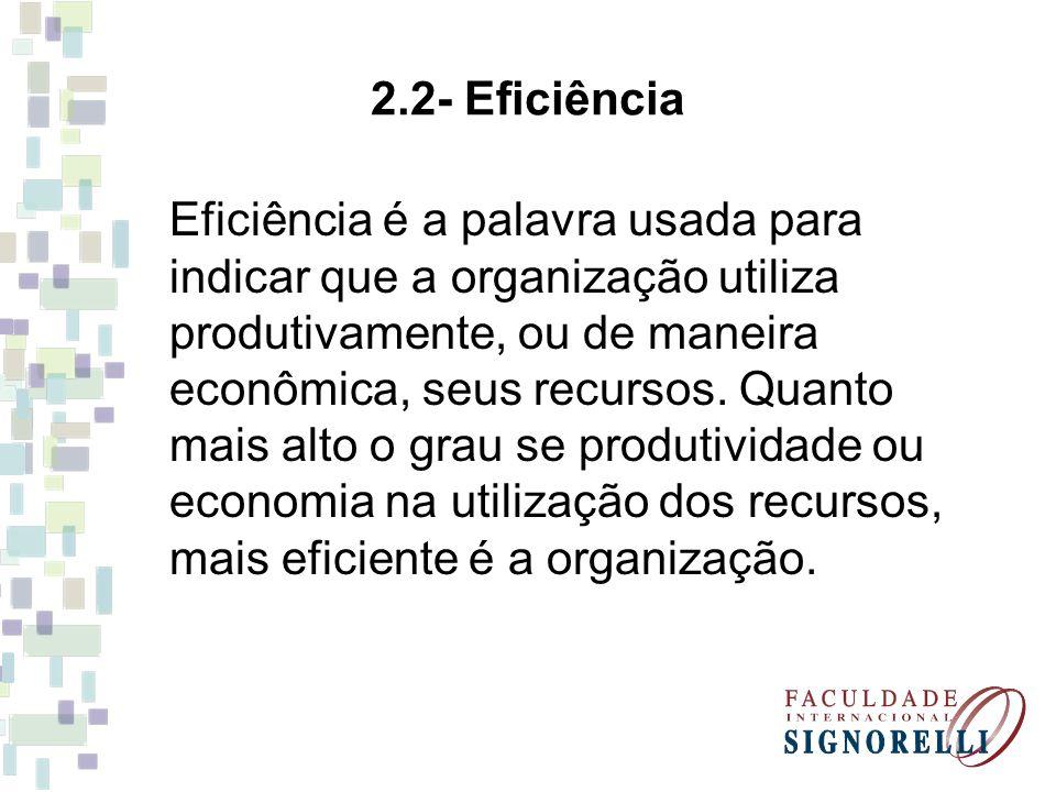 2.2- Eficiência Eficiência é a palavra usada para indicar que a organização utiliza produtivamente, ou de maneira econômica, seus recursos. Quanto mai