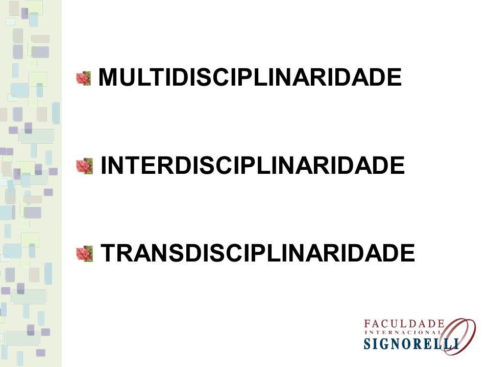 MULTIDISCIPLINARIDADE INTERDISCIPLINARIDADE TRANSDISCIPLINARIDADE