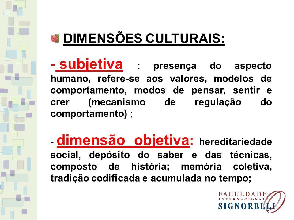 DIMENSÕES CULTURAIS: - subjetiva : presença do aspecto humano, refere-se aos valores, modelos de comportamento, modos de pensar, sentir e crer (mecani