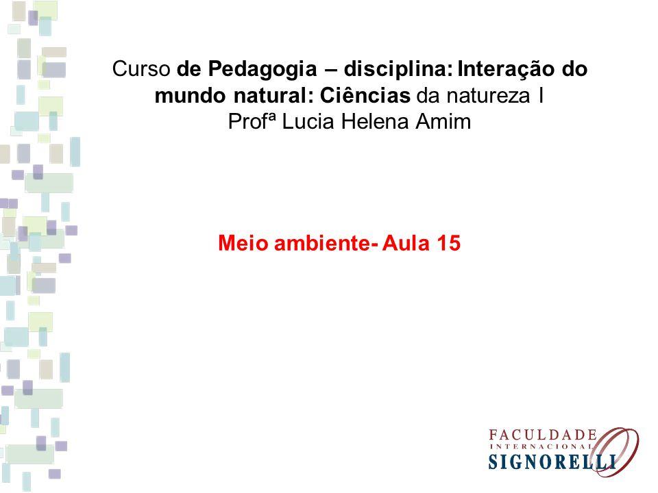 Curso de Pedagogia – disciplina: Interação do mundo natural: Ciências da natureza I Profª Lucia Helena Amim Meio ambiente- Aula 15