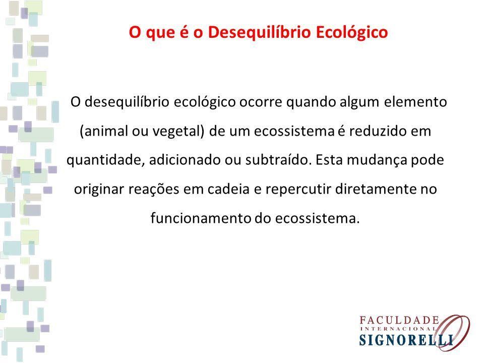 O que é o Desequilíbrio Ecológico O desequilíbrio ecológico ocorre quando algum elemento (animal ou vegetal) de um ecossistema é reduzido em quantidad