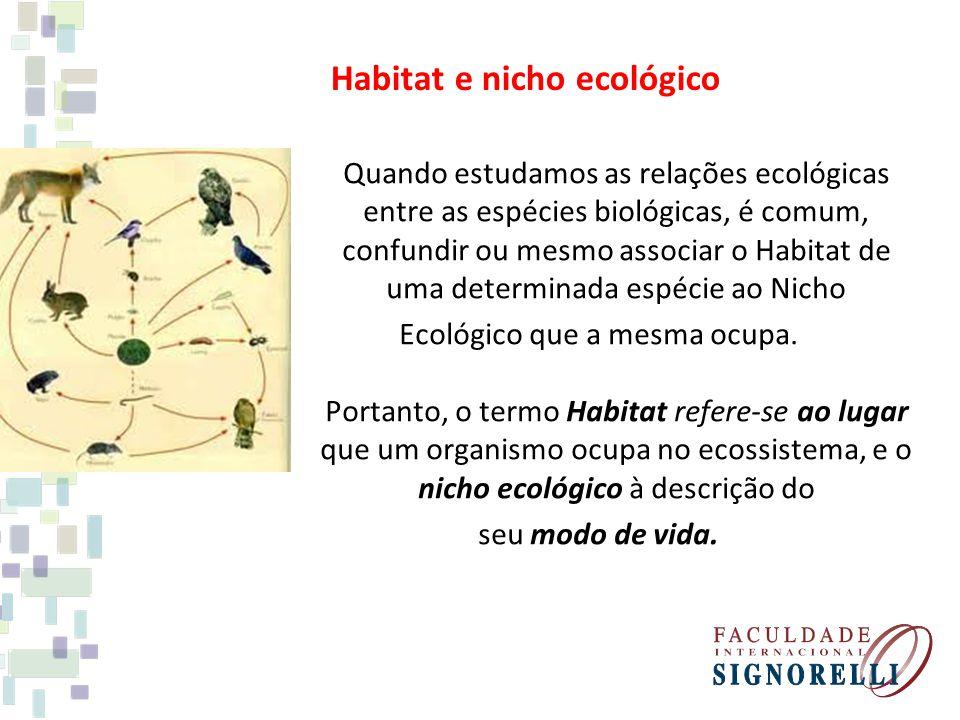 Habitat e nicho ecológico Quando estudamos as relações ecológicas entre as espécies biológicas, é comum, confundir ou mesmo associar o Habitat de uma