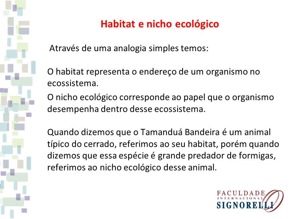Através de uma analogia simples temos: O habitat representa o endereço de um organismo no ecossistema. O nicho ecológico corresponde ao papel que o or