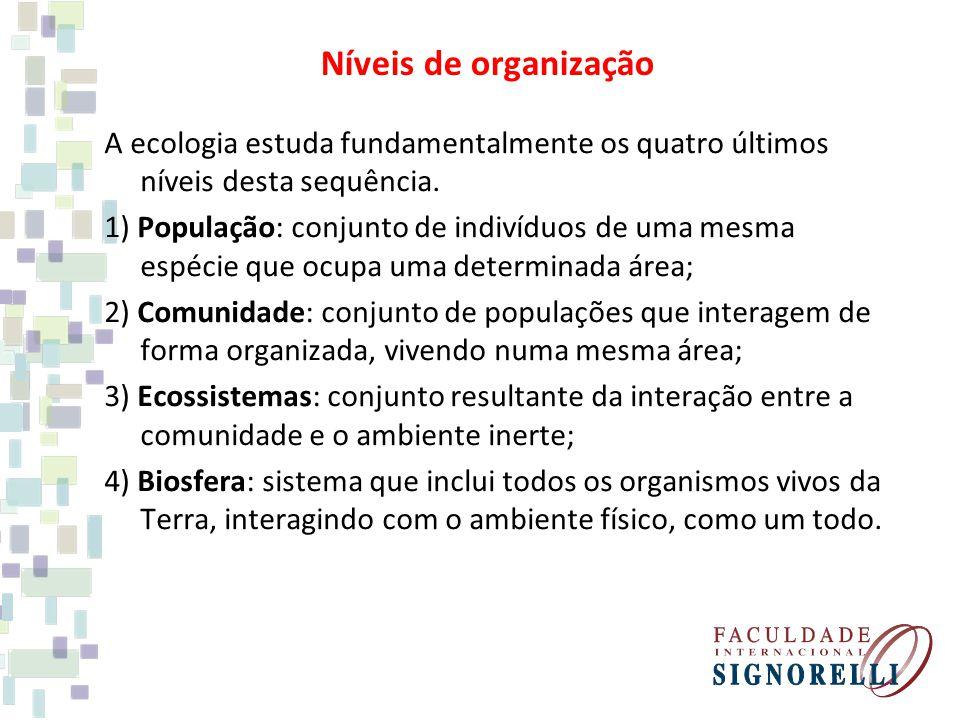 A ecologia estuda fundamentalmente os quatro últimos níveis desta sequência. 1) População: conjunto de indivíduos de uma mesma espécie que ocupa uma d