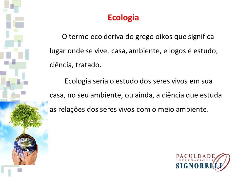 Ecologia O termo eco deriva do grego oikos que significa lugar onde se vive, casa, ambiente, e logos é estudo, ciência, tratado. Ecologia seria o estu