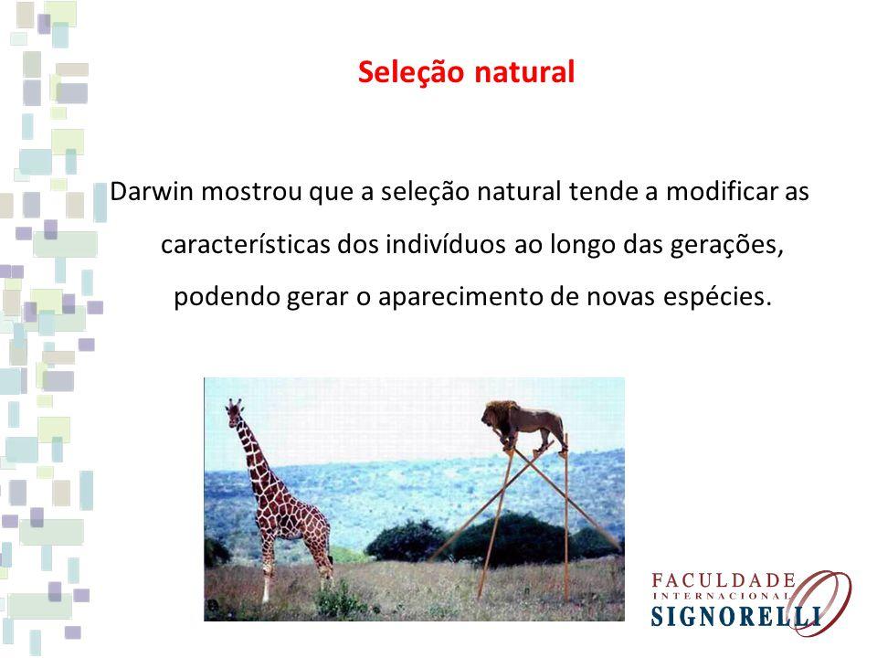 Seleção natural Darwin mostrou que a seleção natural tende a modificar as características dos indivíduos ao longo das gerações, podendo gerar o aparec