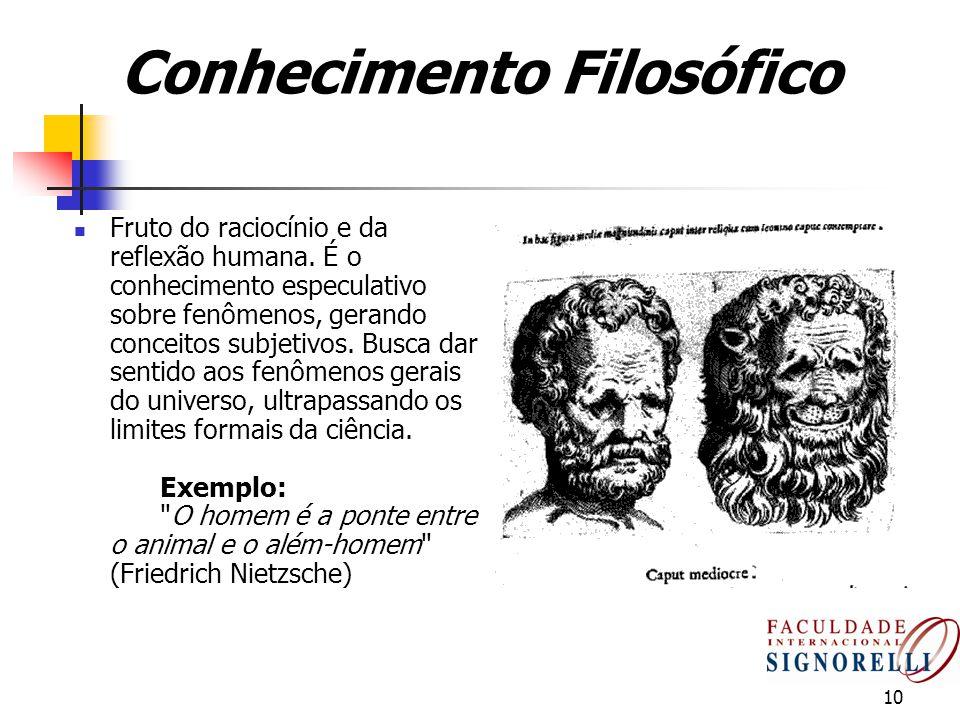 10 Conhecimento Filosófico Fruto do raciocínio e da reflexão humana. É o conhecimento especulativo sobre fenômenos, gerando conceitos subjetivos. Busc