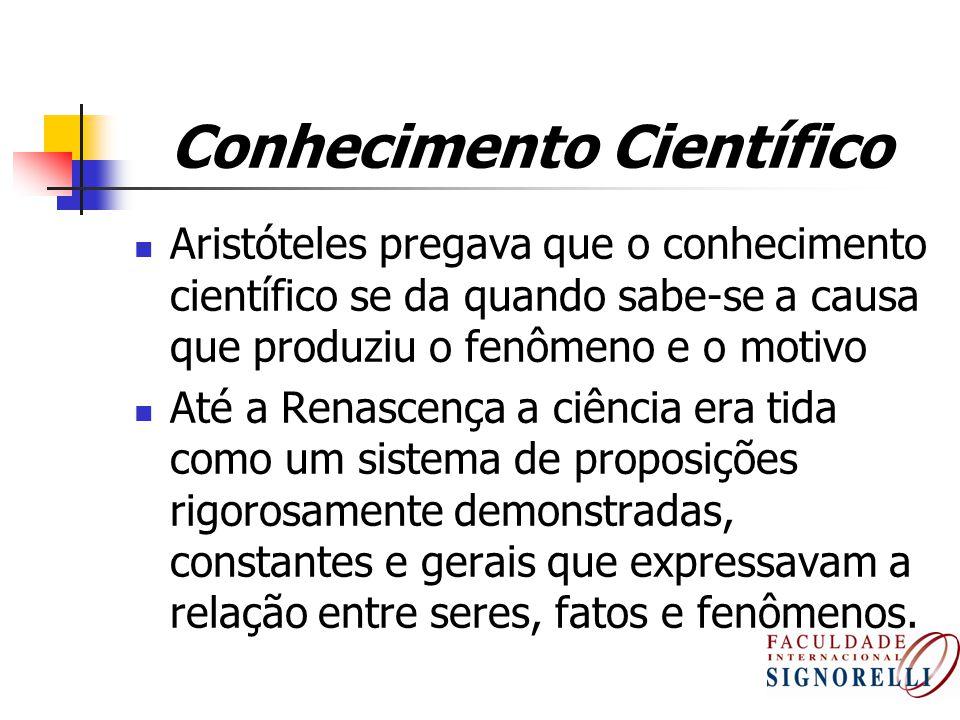 Conhecimento Científico Aristóteles pregava que o conhecimento científico se da quando sabe-se a causa que produziu o fenômeno e o motivo Até a Renasc