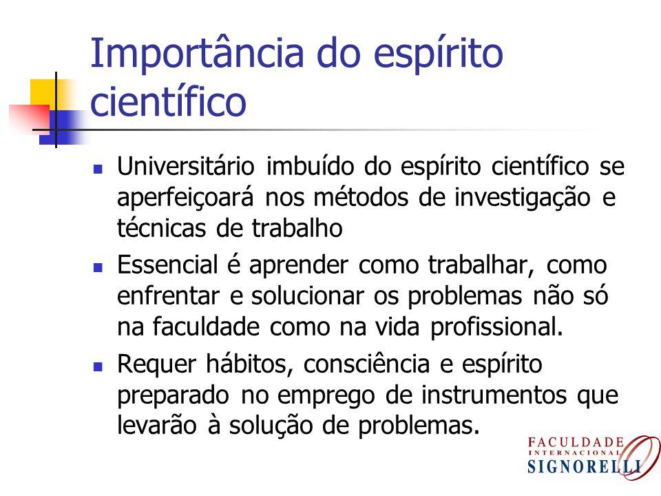 Importância do espírito científico Universitário imbuído do espírito científico se aperfeiçoará nos métodos de investigação e técnicas de trabalho Ess