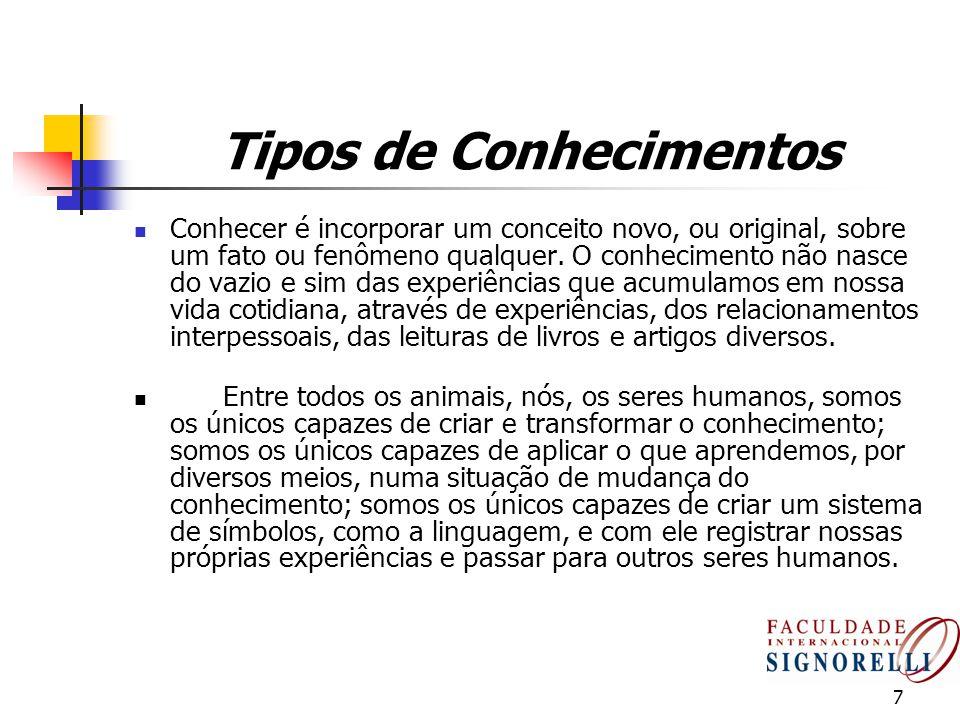 7 Tipos de Conhecimentos Conhecer é incorporar um conceito novo, ou original, sobre um fato ou fenômeno qualquer. O conhecimento não nasce do vazio e