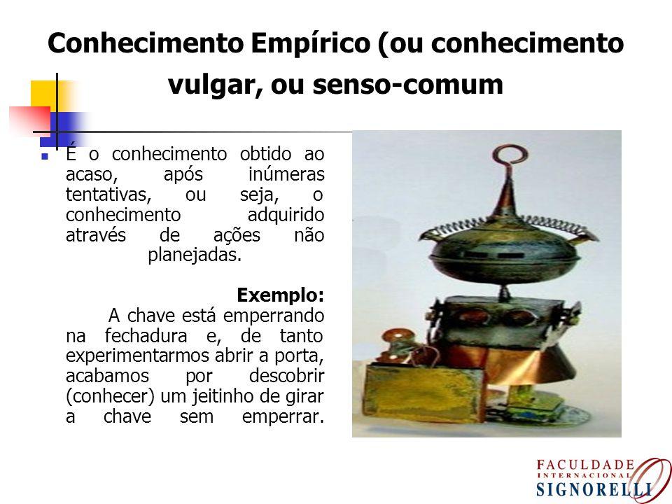 8 Conhecimento Empírico (ou conhecimento vulgar, ou senso-comum É o conhecimento obtido ao acaso, após inúmeras tentativas, ou seja, o conhecimento ad
