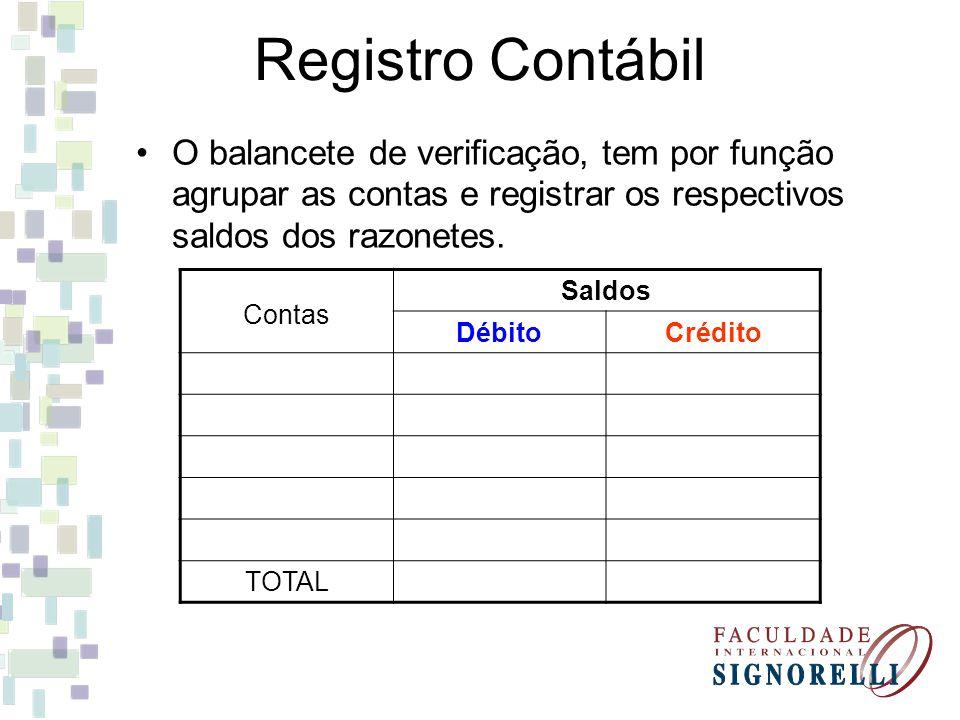 O balancete de verificação, tem por função agrupar as contas e registrar os respectivos saldos dos razonetes. Registro Contábil Contas Saldos DébitoCr