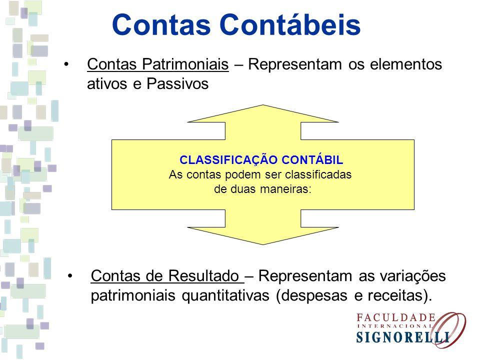 Contas Contábeis CLASSIFICAÇÃO CONTÁBIL As contas podem ser classificadas de duas maneiras: Contas Patrimoniais – Representam os elementos ativos e Pa