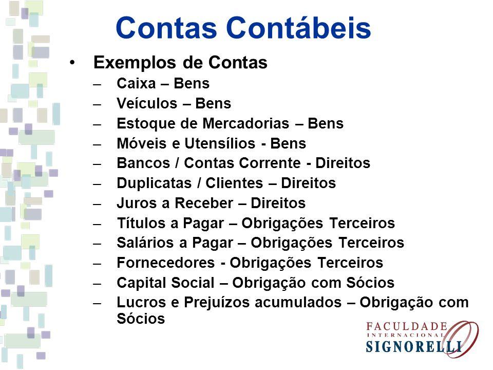 Contas Contábeis Exemplos de Contas –Caixa – Bens –Veículos – Bens –Estoque de Mercadorias – Bens –Móveis e Utensílios - Bens –Bancos / Contas Corrent