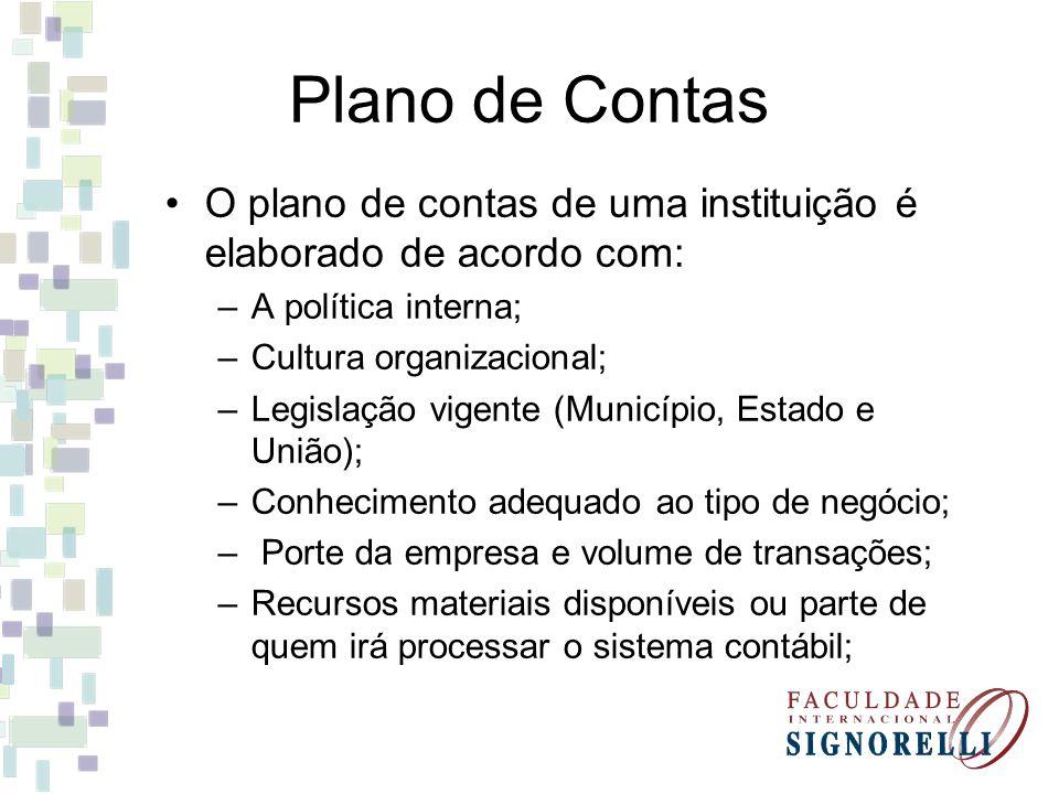 O plano de contas de uma instituição é elaborado de acordo com: –A política interna; –Cultura organizacional; –Legislação vigente (Município, Estado e