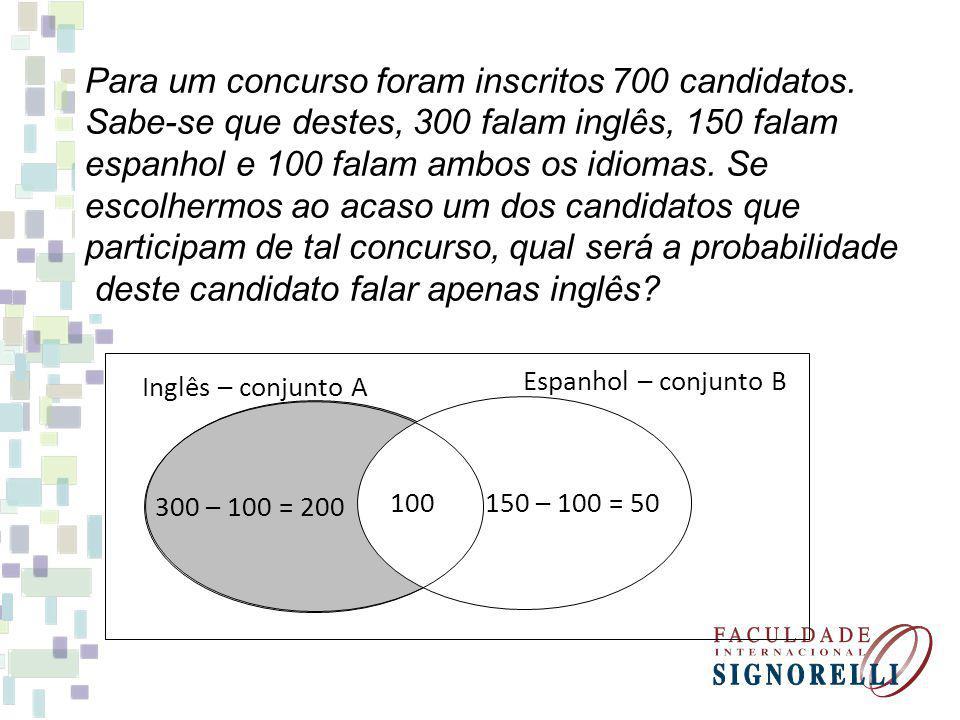 Para um concurso foram inscritos 700 candidatos. Sabe-se que destes, 300 falam inglês, 150 falam espanhol e 100 falam ambos os idiomas. Se escolhermos