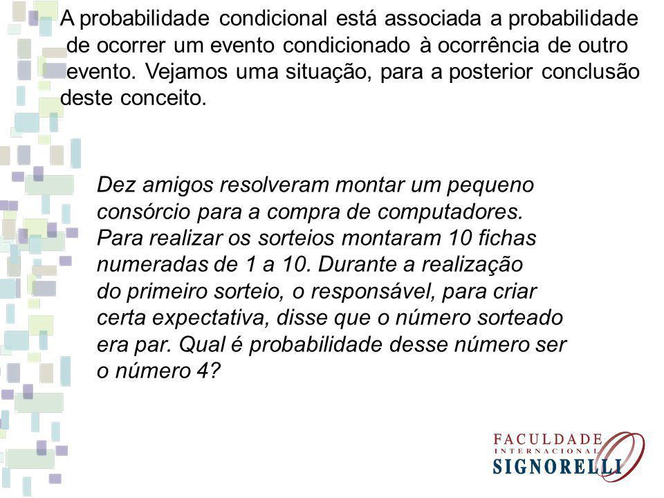 A probabilidade condicional está associada a probabilidade de ocorrer um evento condicionado à ocorrência de outro evento. Vejamos uma situação, para