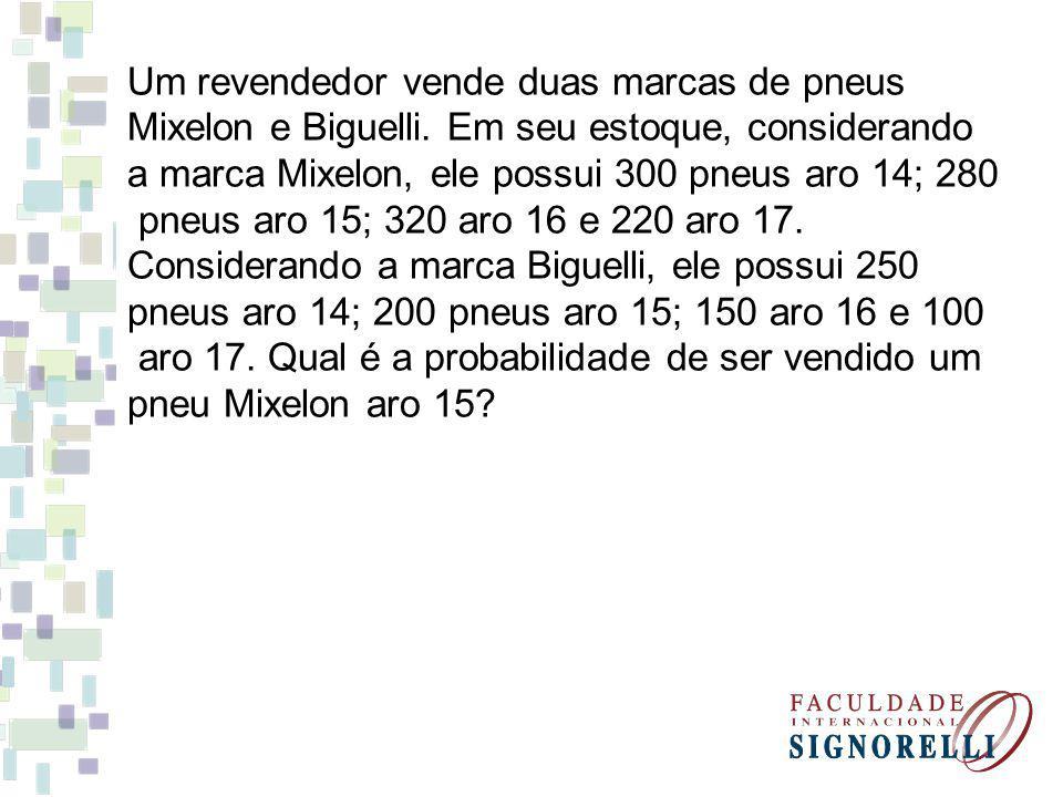 Um revendedor vende duas marcas de pneus Mixelon e Biguelli. Em seu estoque, considerando a marca Mixelon, ele possui 300 pneus aro 14; 280 pneus aro