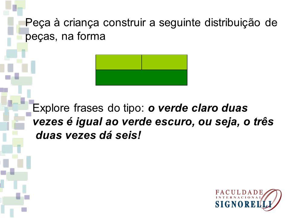 Peça à criança construir a seguinte distribuição de peças, na forma Explore frases do tipo: o verde claro duas vezes é igual ao verde escuro, ou seja,