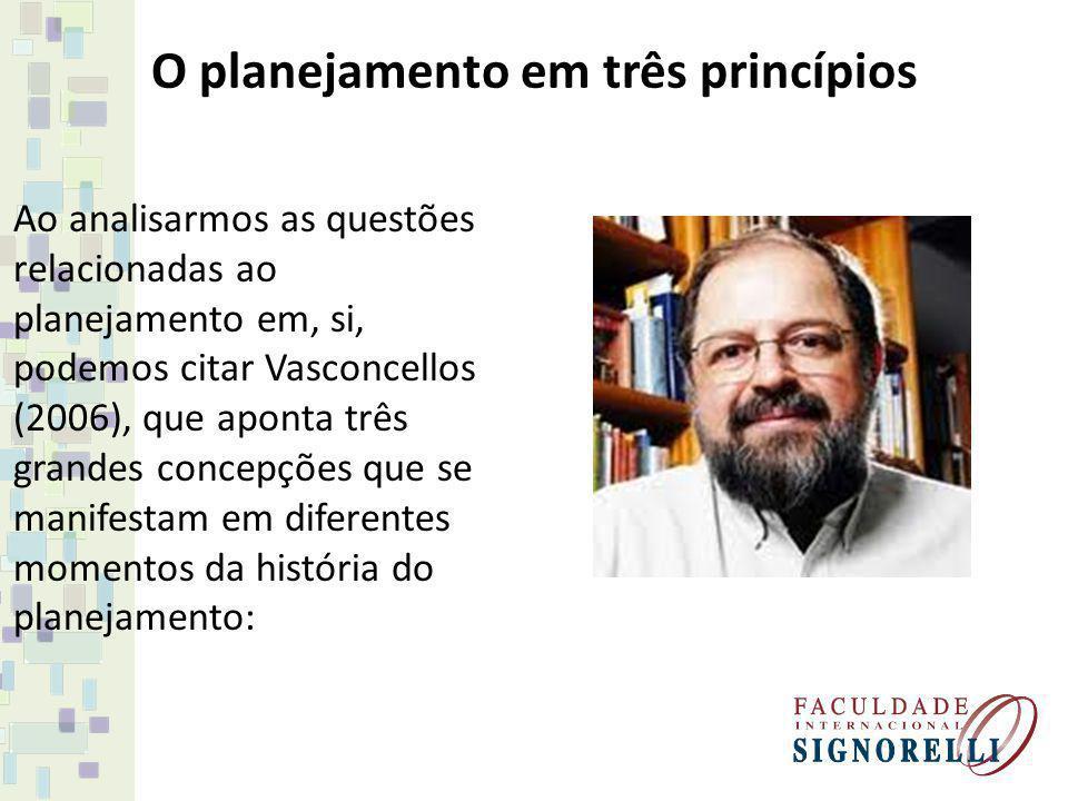 O planejamento em três princípios Ao analisarmos as questões relacionadas ao planejamento em, si, podemos citar Vasconcellos (2006), que aponta três g