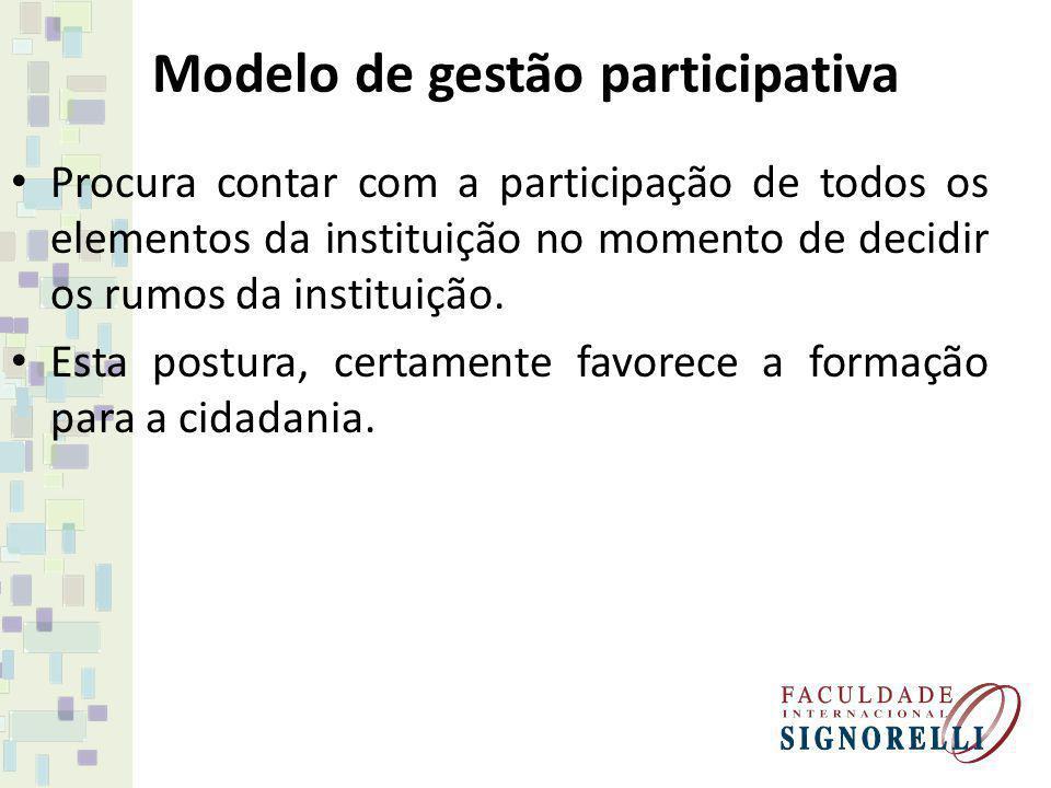 Modelo de gestão participativa Procura contar com a participação de todos os elementos da instituição no momento de decidir os rumos da instituição. E