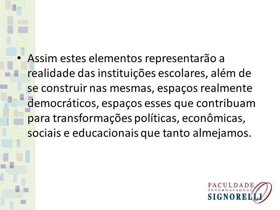 Assim estes elementos representarão a realidade das instituições escolares, além de se construir nas mesmas, espaços realmente democráticos, espaços e