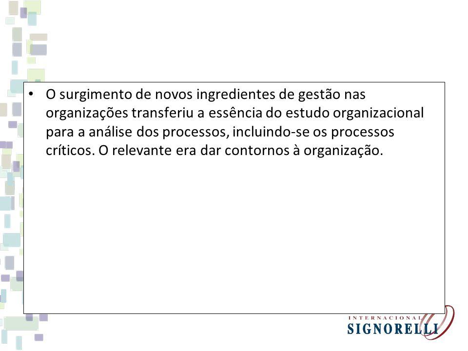 Tendências da teoria das organizações O surgimento de novos ingredientes de gestão nas organizações transferiu a essência do estudo organizacional para a análise dos processos, incluindo-se os processos críticos.