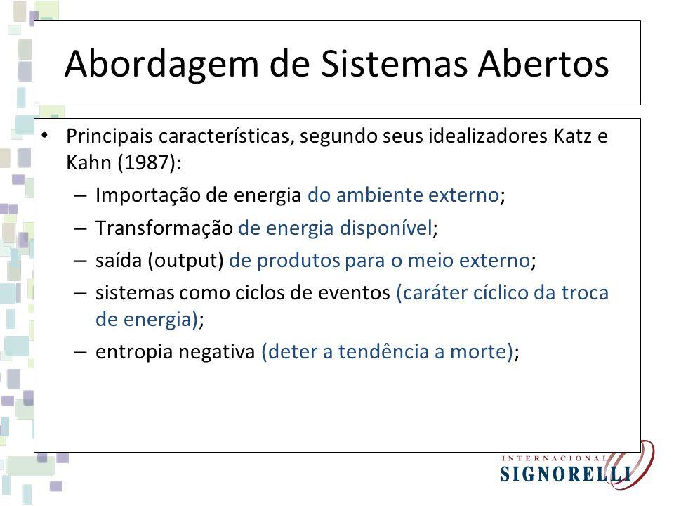Abordagem de Sistemas Abertos Principais características, segundo seus idealizadores Katz e Kahn (1987): – Importação de energia do ambiente externo; – Transformação de energia disponível; – saída (output) de produtos para o meio externo; – sistemas como ciclos de eventos (caráter cíclico da troca de energia); – entropia negativa (deter a tendência a morte);