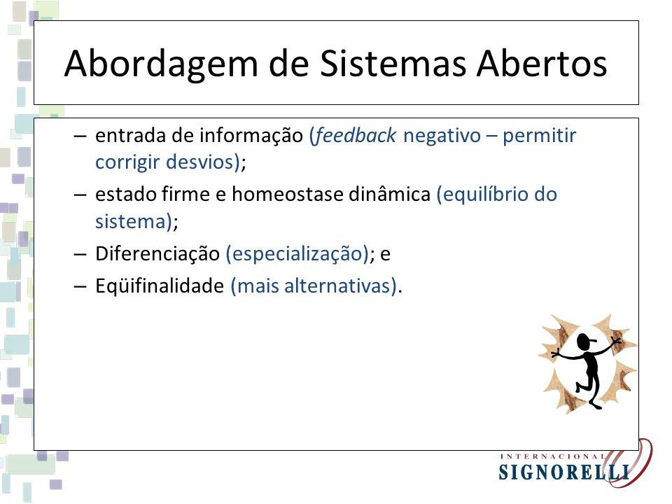 Abordagem de Sistemas Abertos – entrada de informação (feedback negativo – permitir corrigir desvios); – estado firme e homeostase dinâmica (equilíbri