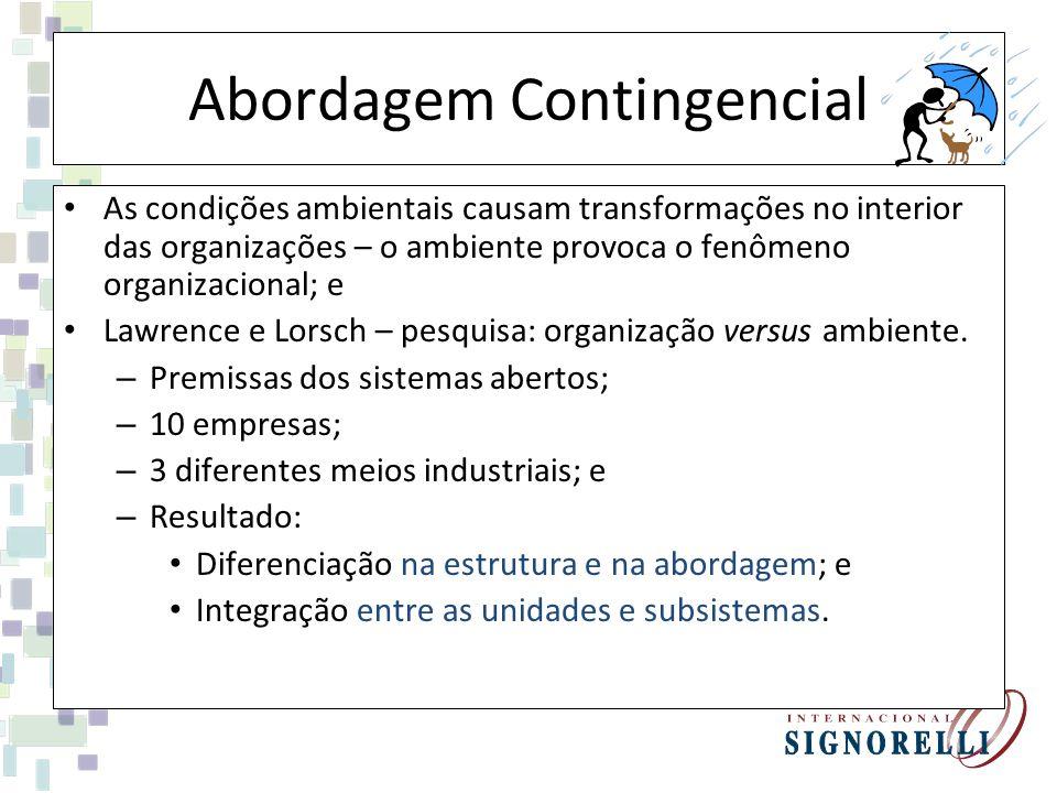 Abordagem Contingencial As condições ambientais causam transformações no interior das organizações – o ambiente provoca o fenômeno organizacional; e Lawrence e Lorsch – pesquisa: organização versus ambiente.